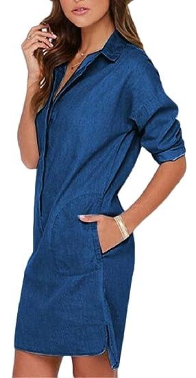 61a62d5f00 ONTBYB Women Long Sleeve Jean Denim Button Down Shift Mini Dress Dark Blue  XS