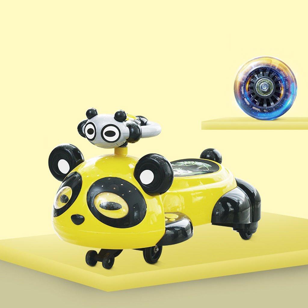Kinder Twist Auto 1-3-6 Jahre alt mit Musik Schaukel Auto Baby Roller Panda Yo Auto Stumm Flash Wheel Walker 80,5  39  45 cm (Farbe   Gelb)