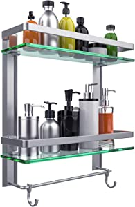 Vdomus Tempered Glass Bathroom Shelf, 2 Tier Shelf with Towel Bar Wall Mounted Shower Storage15.2 by 5 inches, Brushed Silver Finish (2 Tier Glass Shelf)