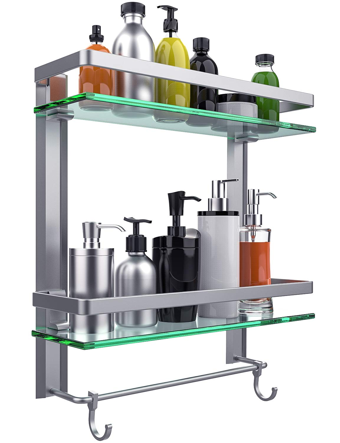 Vdomus Tempered Glass Bathroom Shelf, 2 Tier Shelf with Towel Bar Wall Mounted Shower Storage15.2 by 5 inches, Brushed Silver Finish (2 Tier Glass Shelf) by Vdomus