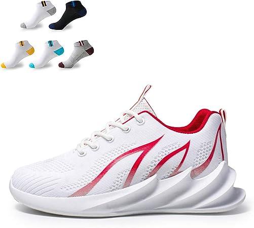 XFQ Mens Ocasionales De Fitness Zapatillas De Deporte, Moda Caminar Correr Formadores Antideslizante De La Amortiguación Ligero Zapatos Tenis,Blanco,41EU: Amazon.es: Hogar