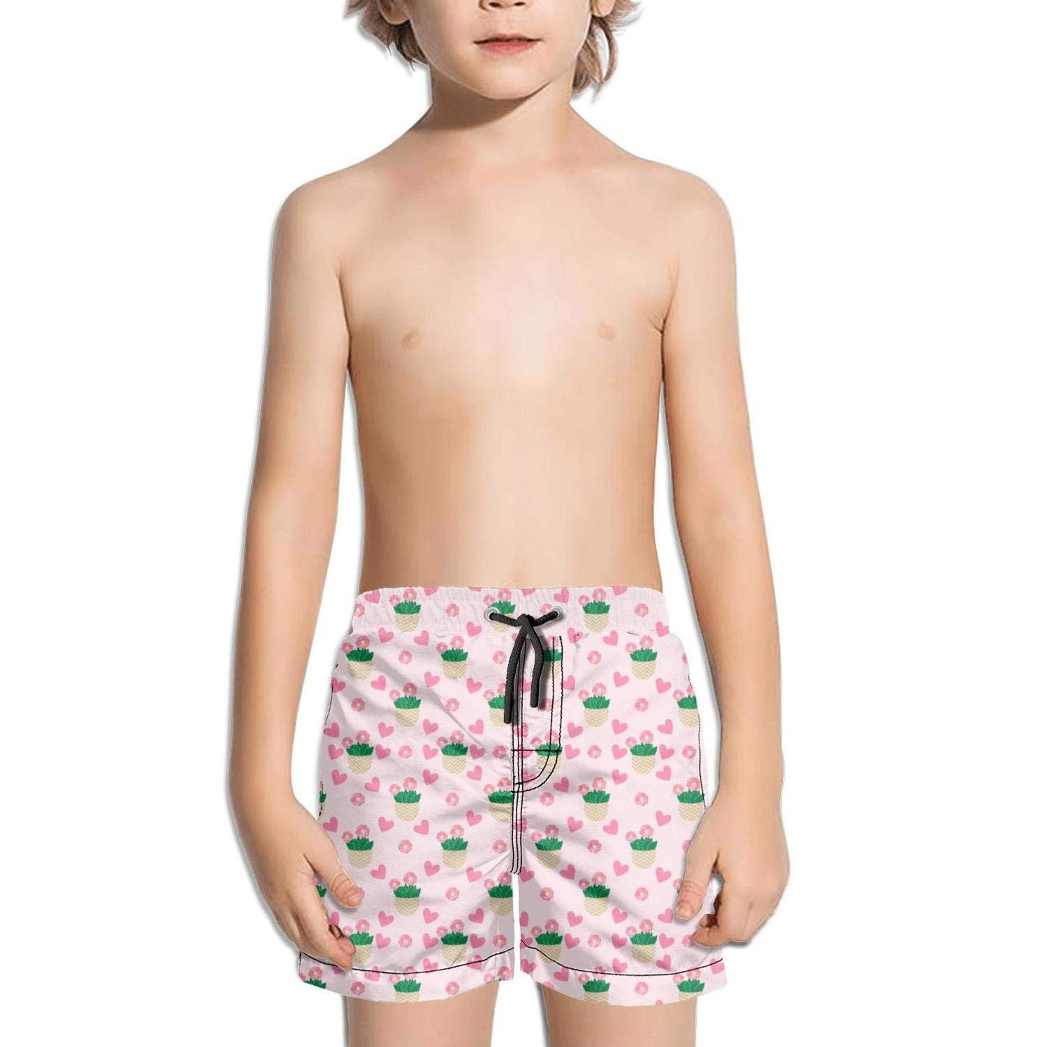 Rare Cactus with Purple Pot Kid Swimming Trunks Slim Fit Swim Shorts for Boys Vintage Beach Shorts for Girls