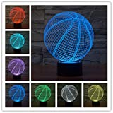 Sport Basketball 3D LED Night Light, Elstey Touch Switch Table Desk Lamp 7 Colour Gifts