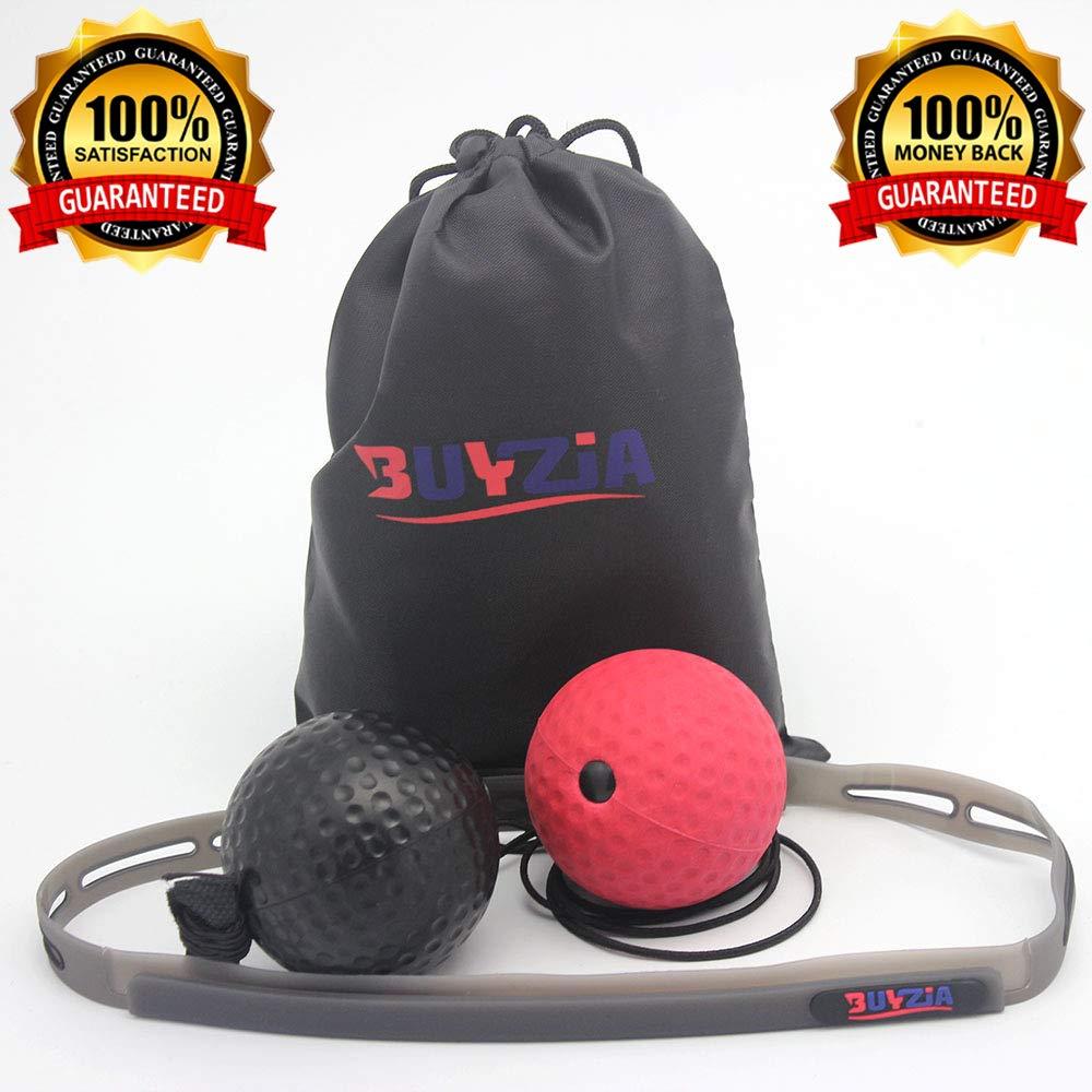Buyzia Ltd ボクシングリフレックスボール 頭部バンド付きファイトボール 牽引ボール付き 紐に連結 スピードトレーニングに最適 最高のボクシング器具で練習したパンチ B07GL7WCP5