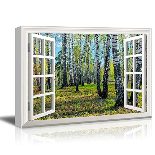 Creative Window View Spring Forest