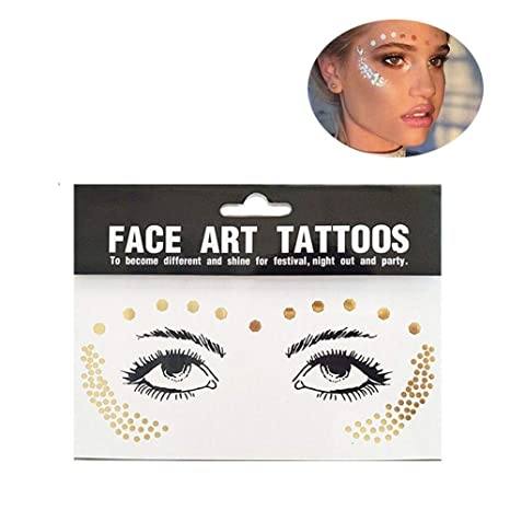 Yuccer Tatuajes Temporales Mujer, Face Stickers Impermeable Tatuajes Dorados Metálicos Adultos Brillante y ultra Resistente