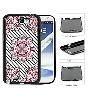 Red Victoria Damask With Black Stripes Hard Plastic Snap On Cell Phone Case Samsung Galaxy Note 2 II N7100