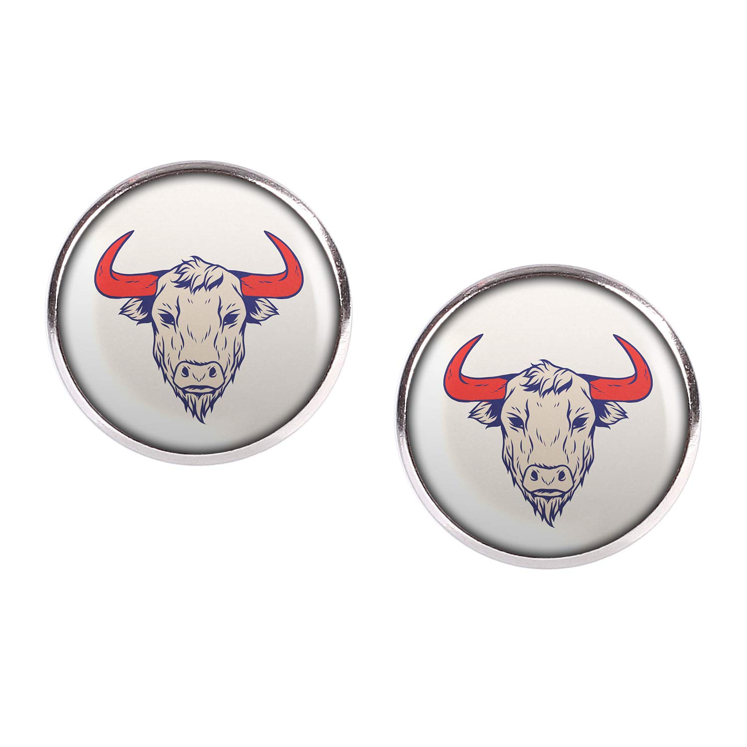 Stud Earring Pair with Cabochon Picture Zodiac Zodiak Retro Taurus Taurus silver different sizes