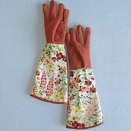 Leather Rose Gardening Gloves Thorn Proof Pruning Gloves With Long  Polyester Print Cuff To Protect Your Arms ...