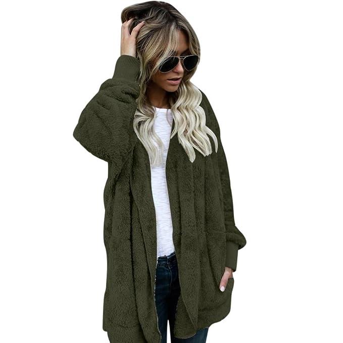 Kolylong® Mantel Damen Frauen Elegante Plüsch Jacke mit
