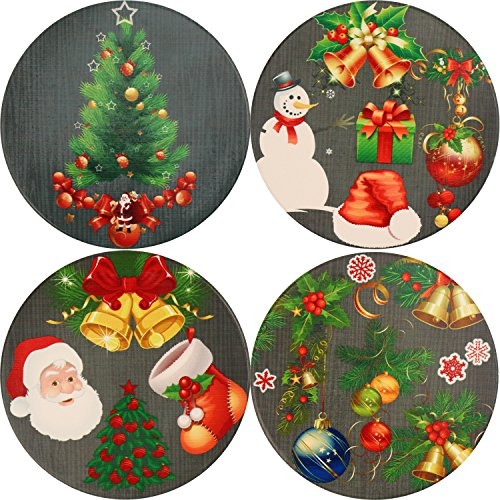 LogHog Absorbent Coaster Set of 4,Merry Christmas Ceramic Coaster Place Mat Glass Cup Holder Table Decoration for Drinks(Christmas Coaster)