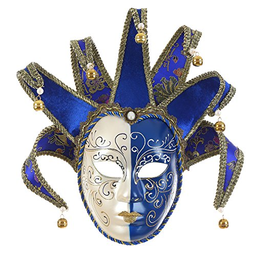 Full Face Venetian Jester Mask Masquerade Blue White Bell Joker Wall Decorative Art -