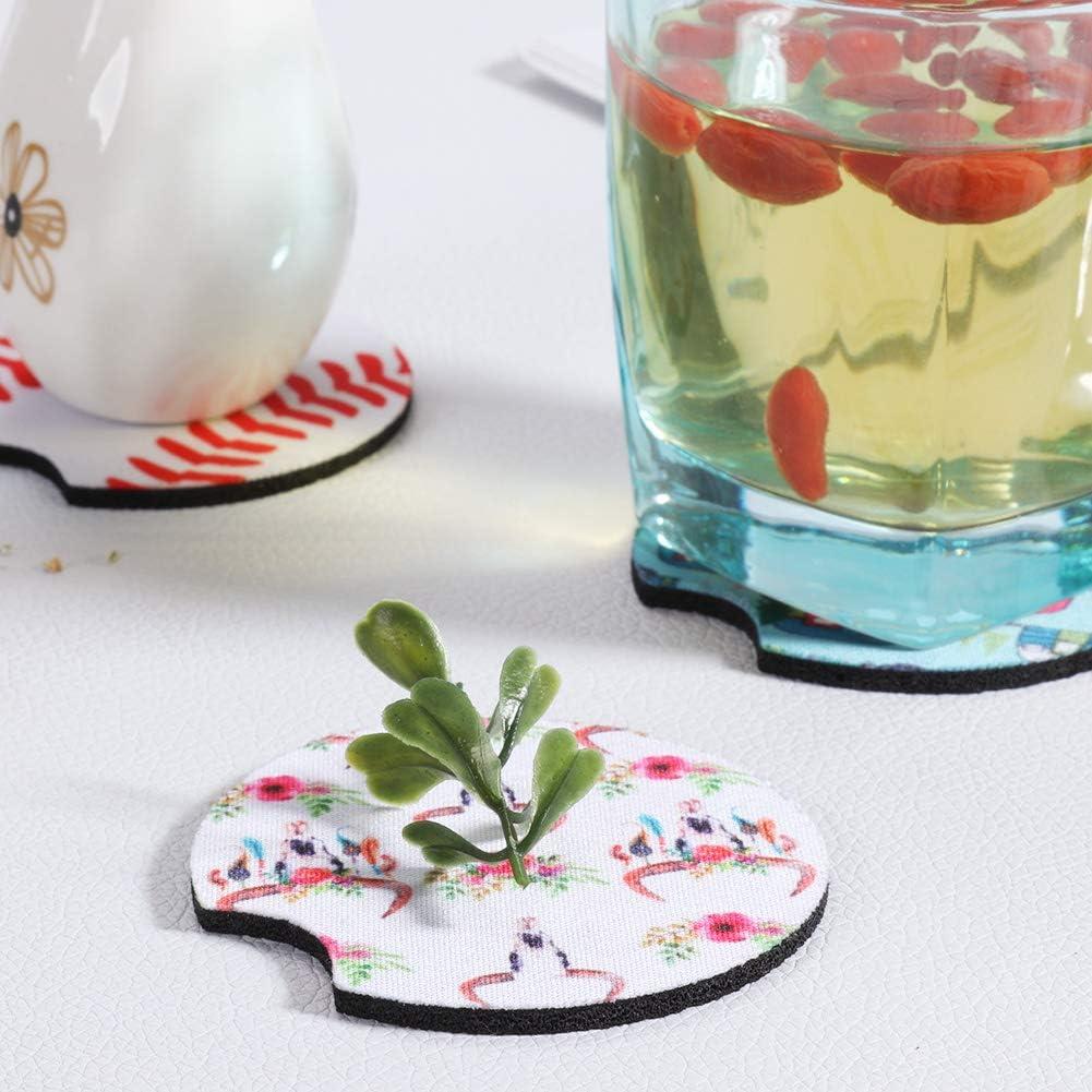 6Pcs Car Cup Holder Coaster Neoprene Car Coasters Contrast Mug Coaster Car Drink Cup Mat for Home Decor Accessories