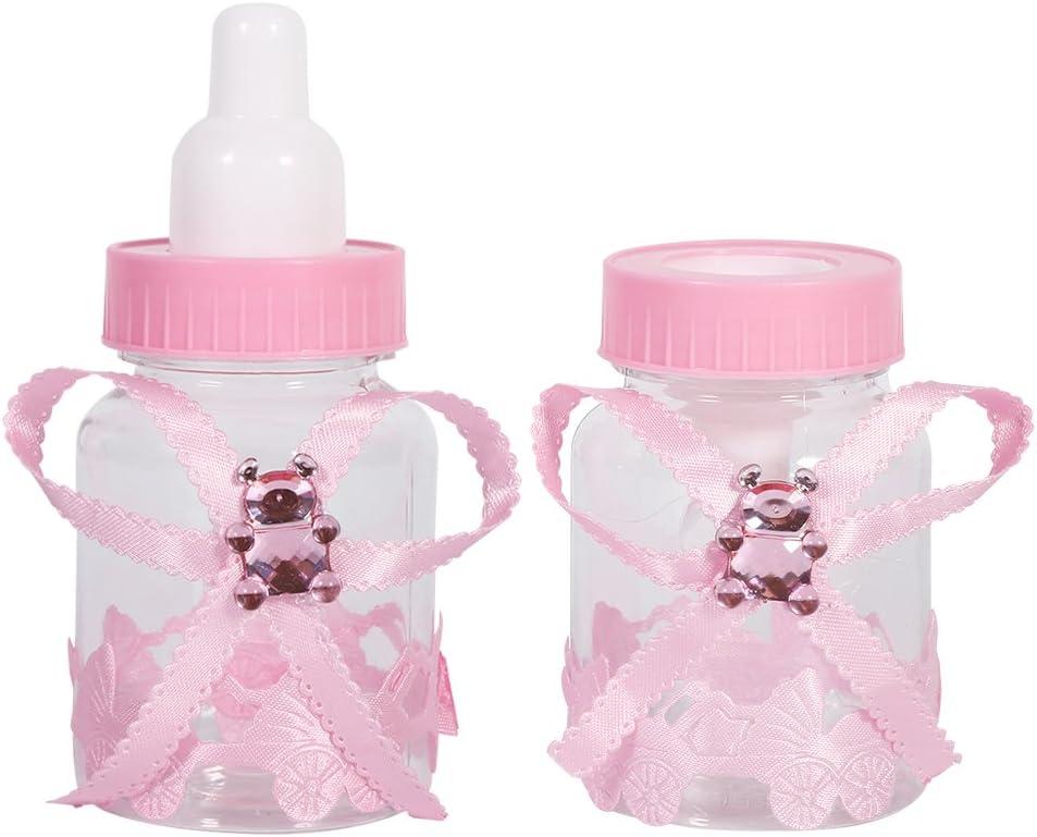 Bewinner 50 Piezas de Botellas de Caramelo, 2 Colores Botella de Caramelo Regalos de Fiesta Botella de Baby Shower con Hermoso Bowknot, Botellas de Chocolate Gadgets Favores de Fiesta Regalos(Rosado)
