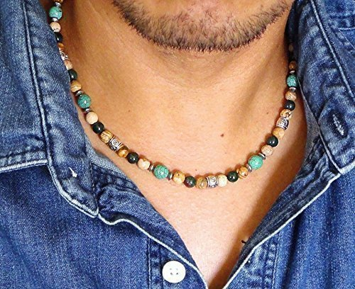 Mens Natural Stone Beaded Necklace 19 inches - Green Turquoise, Bloodstone, Picture Jasper - Handcrafted in (Green Precious Stone)