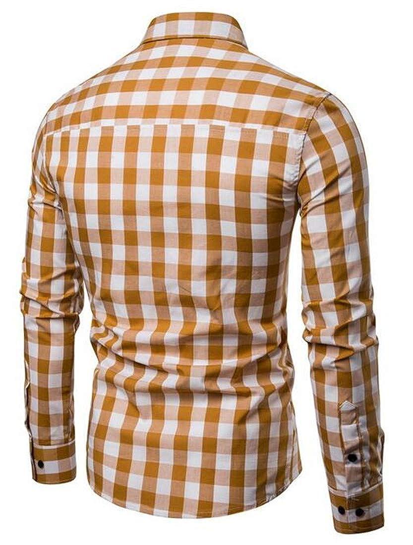 Cromoncent Mens Slim Fit Plaid Buffalo Long Sleeve Button Down Shirts