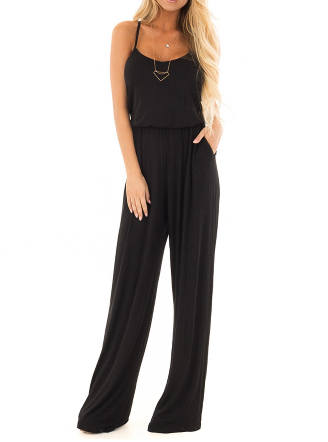 Adreamly Women Casual Loose Sleeveless Open Back Wide Leg Long Pants Romper Jumpsuits with Pockets Black Large