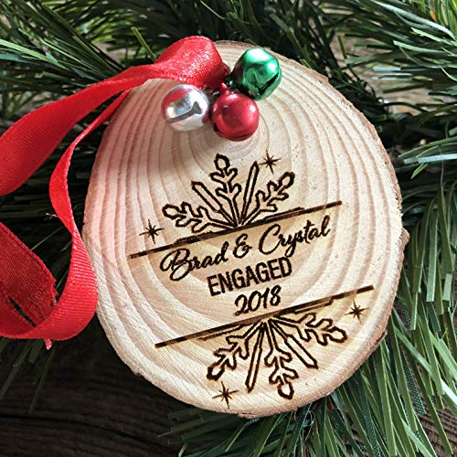 Engaged Wood Christmas Ornament