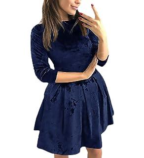 Vestiti Donna Eleganti da Cerimonia Manica 3 4 Girocollo Slim Fit Velluto  Abiti Chic Ragazza d5603776929
