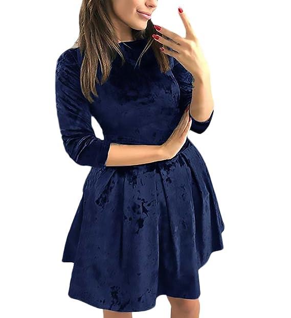 Mujer Vestido Cortos Elegantes Terciopelo 3/4 Manga Cuello Redondo Lindo Chic Slim Fit Vestidos Años 50 Vintage Moda Hipster De Fiesta Coctel Vestidos ...