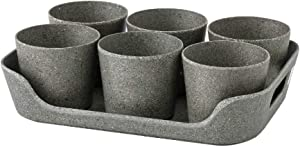 Time Concept Simple Eco Planter Herb Pot Set with Tray - Black, Set of 6 - Vegetable Garden Planter, Indoor & Outdoor Home Decor
