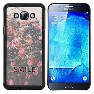 Samsung Galaxy A8 ( A8000 ) - Impreso colorido protector duro espalda Funda piel de Shell (Sonrisa motivaci¨®n Vignette Roses)