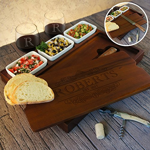 Personalized Bruschetta Set Including Bread Knife and Ceramic Dishes