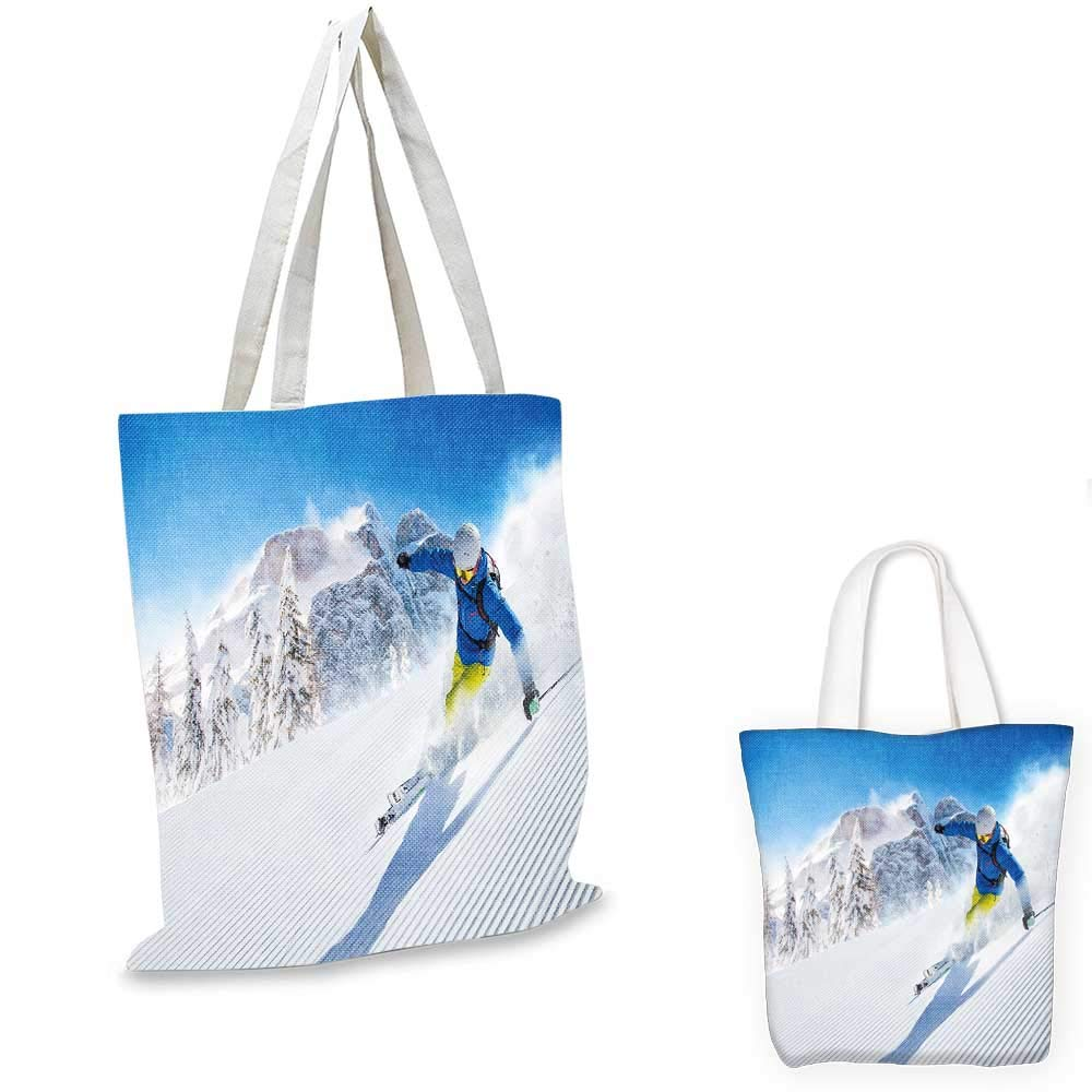 fruit shopping bag 14x16-11 Winter canvas messenger bag Snow Falling Down on the New York City Urban Life Skyscrapers Streets Cold Weather