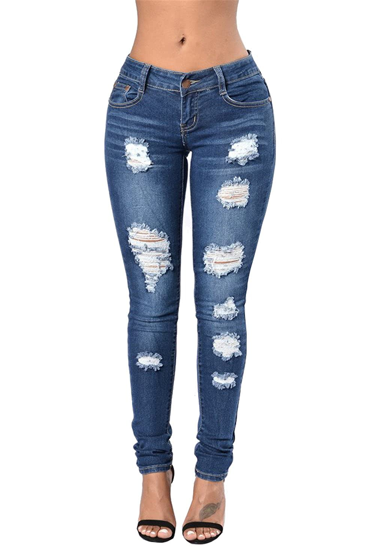 JOTHIN Elasticizzati a Vita Alta Pantaloni a Matita da Donna Strappati Skinny Blu Eleganti Jeans Slim Fit Pencil Pants.