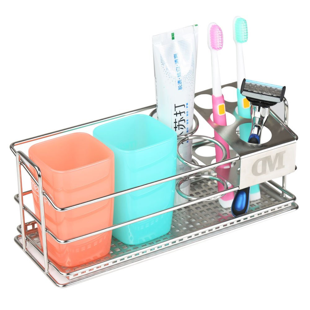 K-Steel Steel Toothbrush Holder Stand 304 Stainless Steel Bathroom Sturdy Storage Toothpaste Rack by K-Steel