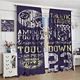 smallbeefly Sports Room Darkening Wide Curtains Retro Style American Football College Theme Illustration Athletic Championship Apparel Decor Curtains By 72''x84'' Purple