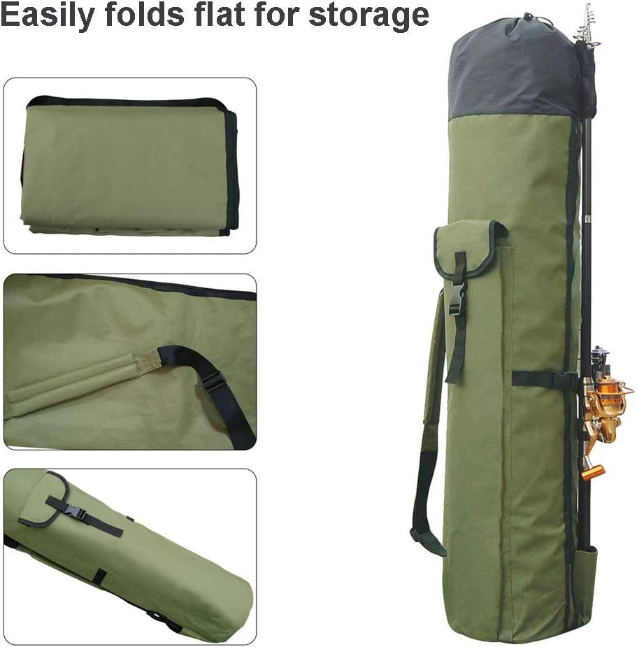 Allnice Thickening Canvas Fishing Rod and Reel Organizer Travel Carry Case Bag by allnice