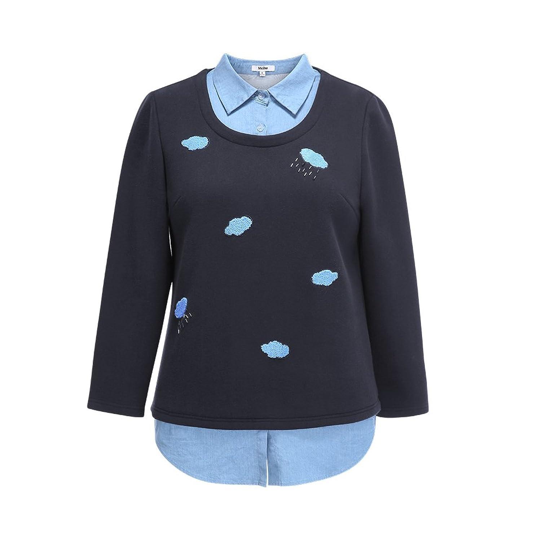 MSSHE Women's Plus Size Warm Stitching Mock Two Piece Pullover Sweaters Winter Fashion Sweet sweater
