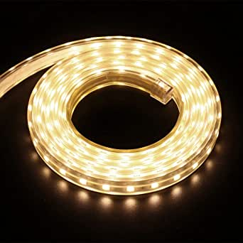 XUNATA 8m 220V Tiras LED, SMD 5050 60LEDs/m, IP67 Impermeable, Escalera de Techo Blancas Tira de LED Cocina Cable Luces LED Blanco Calido: Amazon.es: Iluminación