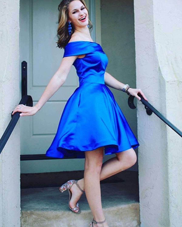 Promworld Womens Elegant Off The Shoulder Satin Prom Dress A Line Evening Gowns Formal Dress