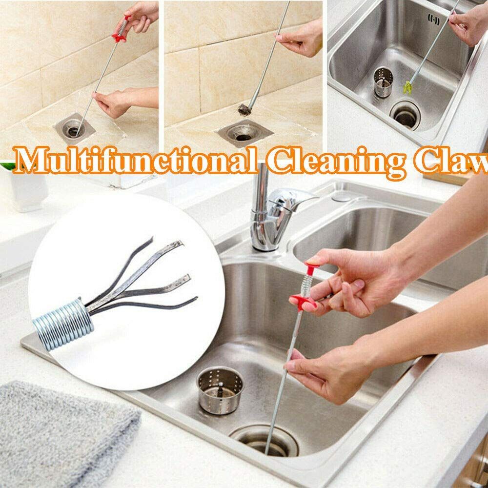Multifunctional Cleaning Claw Sewer Dredging Tools Bathroom Tub Toilet and More 18 inch Hair Drain Clog Remover Drain Relief Auger Cleaning Tool for Kitchen Sink