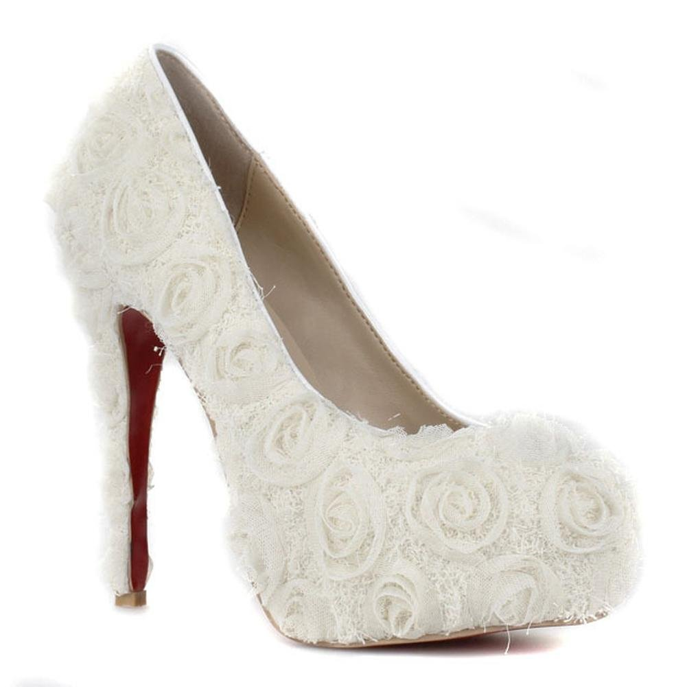 Braut Schuh Frauen Dunne High High High Heels Weisse Rose Blume
