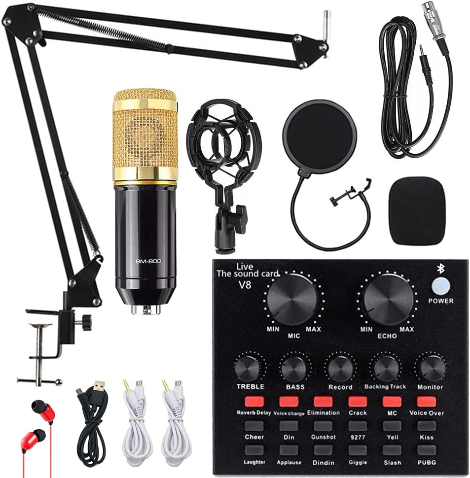 Condenser Microphone Bundle, ALPOWL BM-800 Mic Kit with Live Sound Card, Adjustable Mic Suspension Scissor Arm, Metal Shock Mount and Double-Layer Pop Filter for Studio Recording & Broadcasting (Gold)