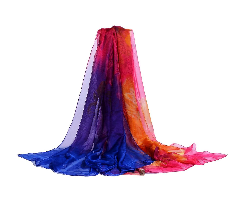 75277808dc E-Clover Plus Size Chiffon Swimsuit Beach Cover Up Floral Print Sarong Wrap