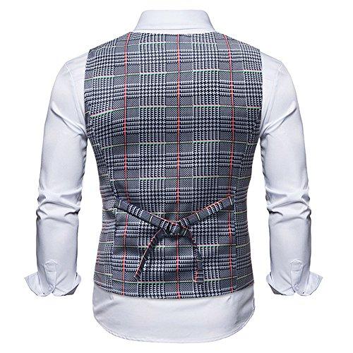 Men Coats Hot WEUIE Men Casual Printed Sleeveless Jacket Coat British Suit Vest Blouse (5XL, Gray) by WEUIE (Image #3)
