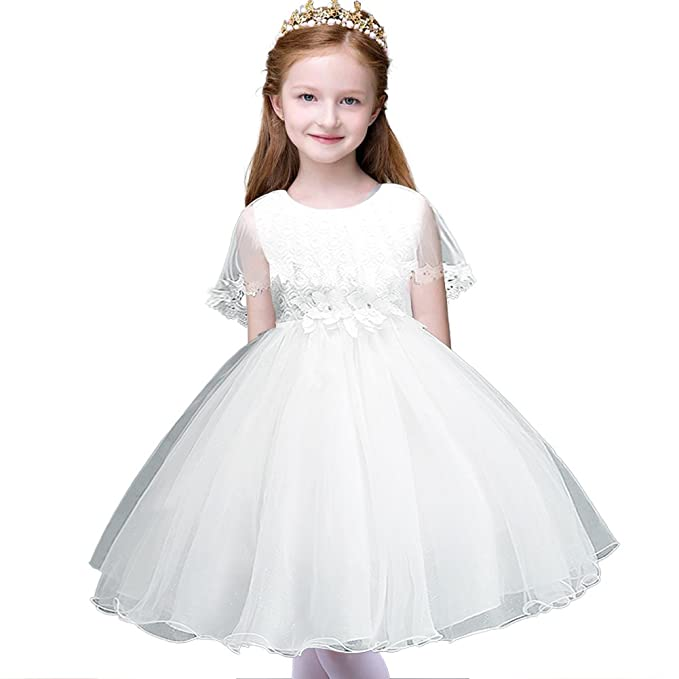 aab23b42b6 MCERMR Little Girls Dresses Kids Lace Party Wedding Dresses Flower Girl  Dress for 2-12