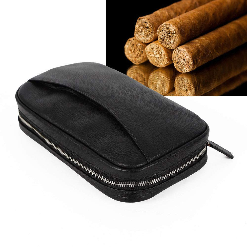 Cigar Case, Portable Genuine Leather Cigar Holder Case Travel Humidor Bag Hold 5 Cigars 2 Pockets (USA Stock)
