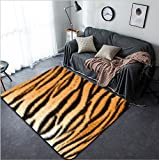 Vanfan Design Home Decorative beautiful tiger textured fur stripes on animal pelt Modern Non-Slip Doormats Carpet for Living Dining Room Bedroom Hallway Office Easy Clean Footcloth
