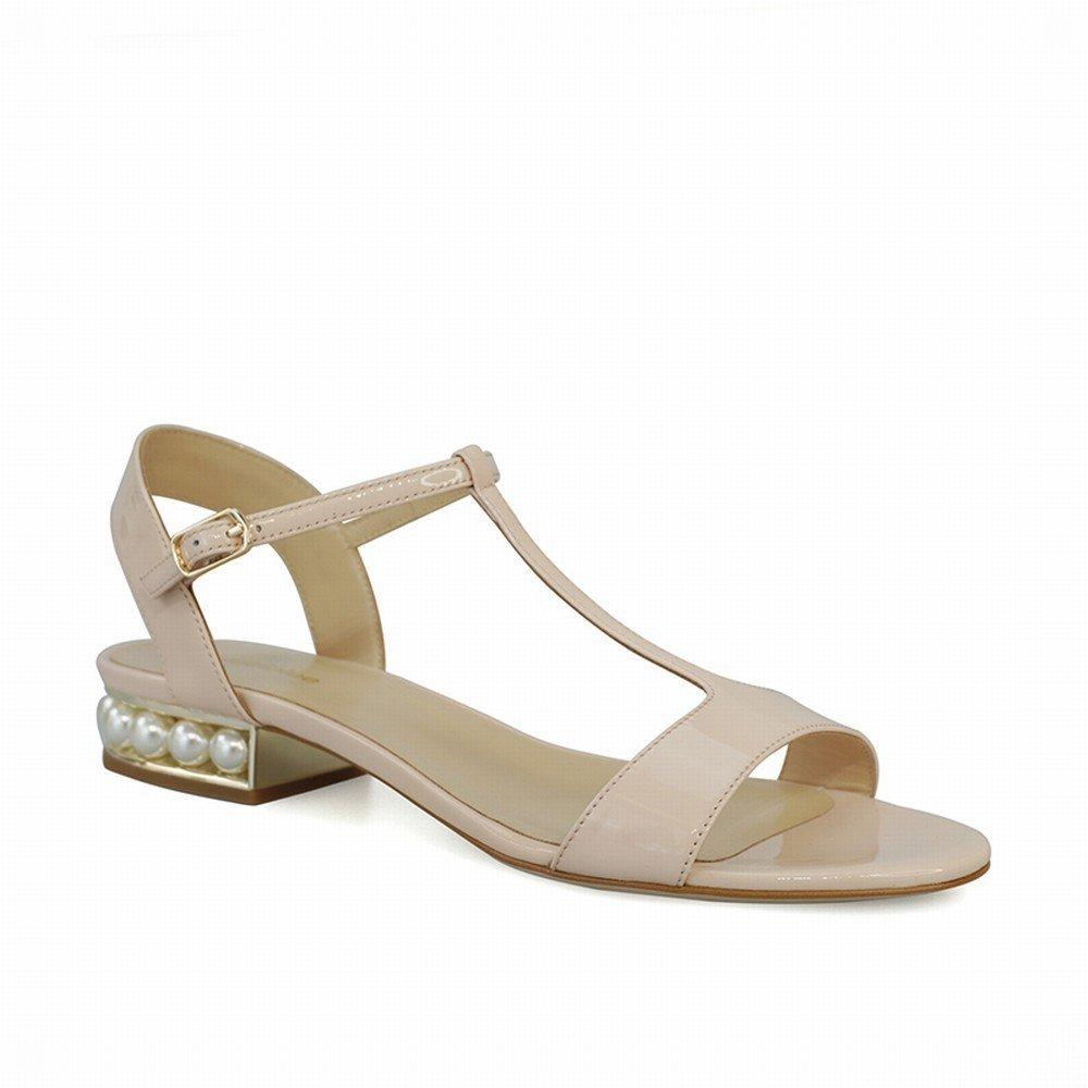 DHG Peep-Sandaletten mit Flachem Absatz und T-Riemen mit Römischen Schuhen,Rosa,34