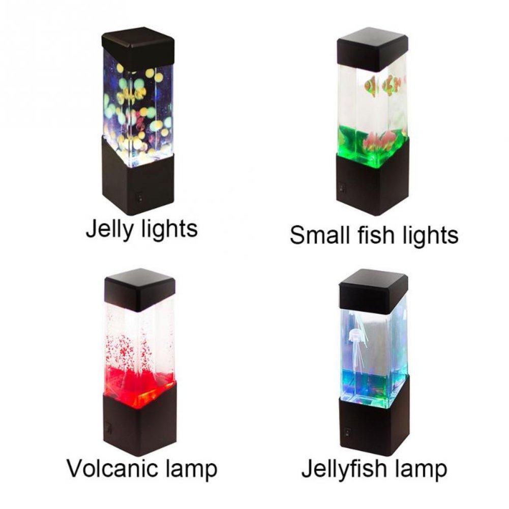 Oyalaiy Oyotric Jellyfish Lámpara eléctrica de Tanque de Medusa Artificial Mini Acuario cambiante de Color de la lámpara de Estado de ánimo para decoración ...