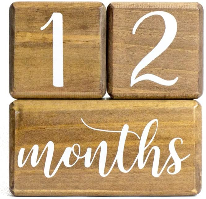 LovelySprouts Premium Solid Wood Milestone Age Blocks | Choose from 2 Stain Options (Walnut) | Baby Age Photo Blocks | Perfect and Keepsake