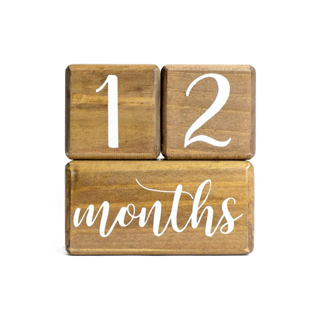 LovelySprouts Premium Solid Wood Milestone Age Blocks | Choose From 2 Stain Options (Walnut) | Baby Age Photo Blocks | Perfect and Keepsake by