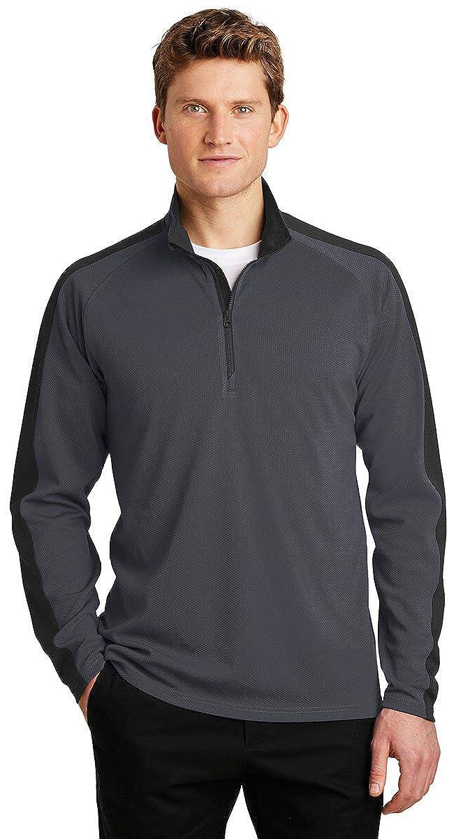 Sport-Tek Sport-Wick Textured Colorblock 1//4-Zip Pullover-ST861-M