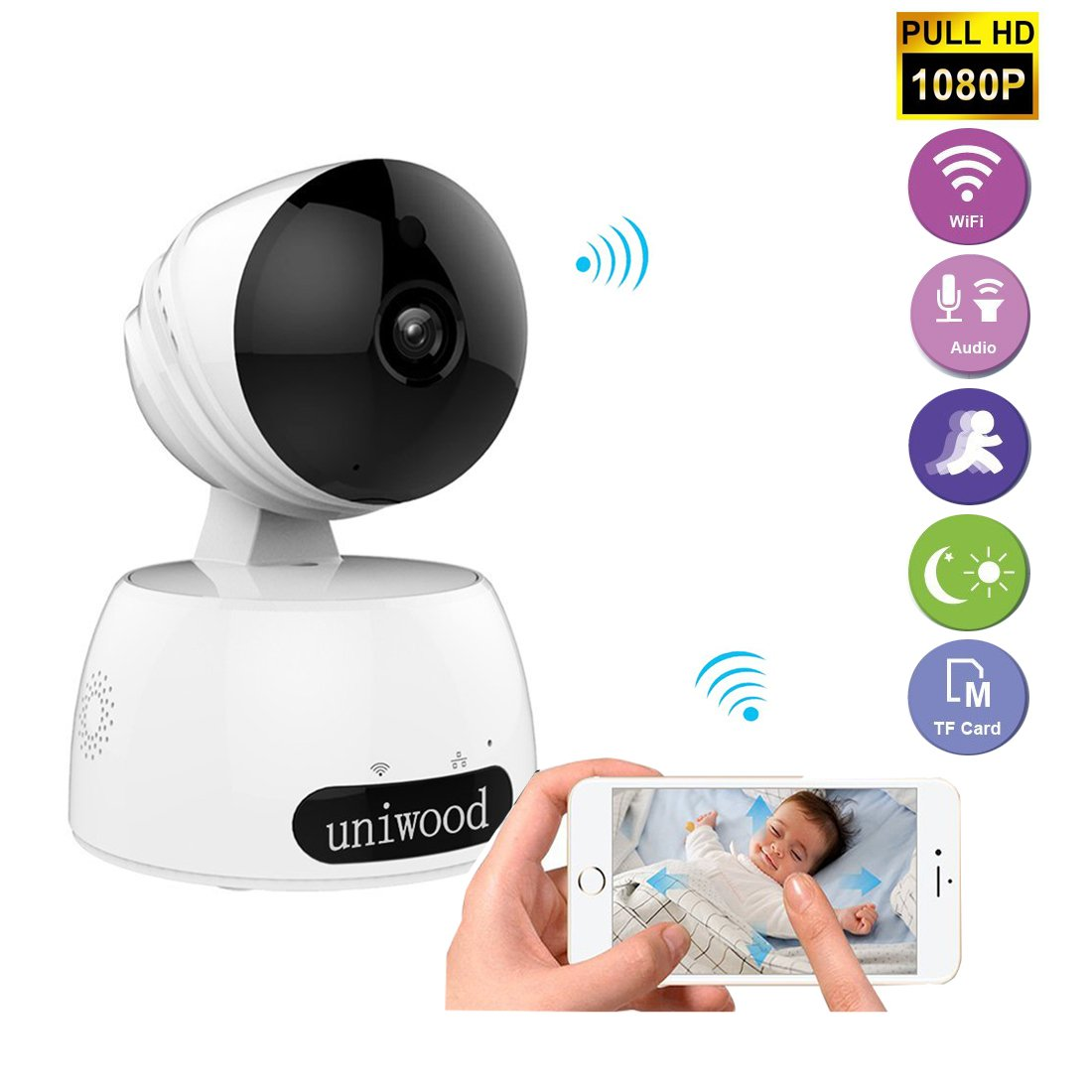 uniwood 1080P HD WiFi Security Camera, Wireless IP Surveillance Pet Camera with Two Way Audio, Motion Detection Baby Monitor with Camera, Remote Recorder Viewer by Smartphone App for iOS and Android