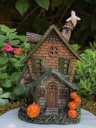 (Miniature Dollhouse Fairy Garden Halloween Haunted House W Witch &)